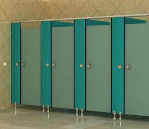 vách ngăn vệ sinh màu xanh
