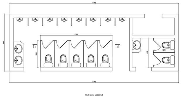 Thiết kế bản vẽ cad vách ngăn vệ sinh compact